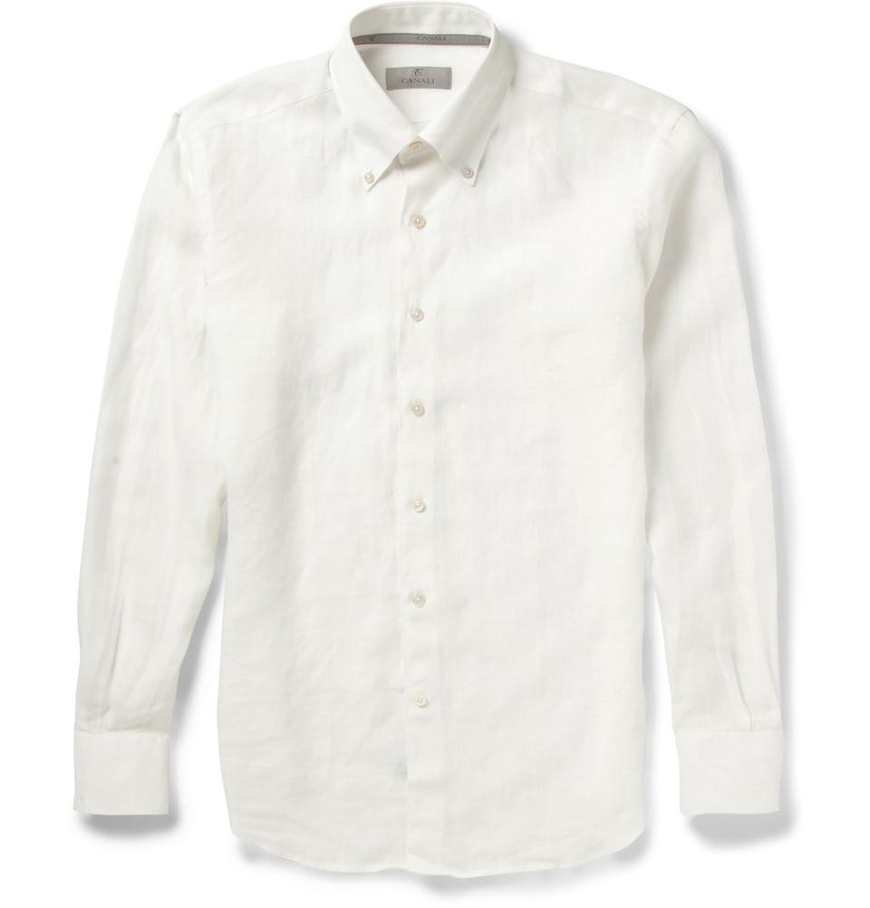Canali buttondown collar linen shirt in white for men lyst for White button down collar shirt
