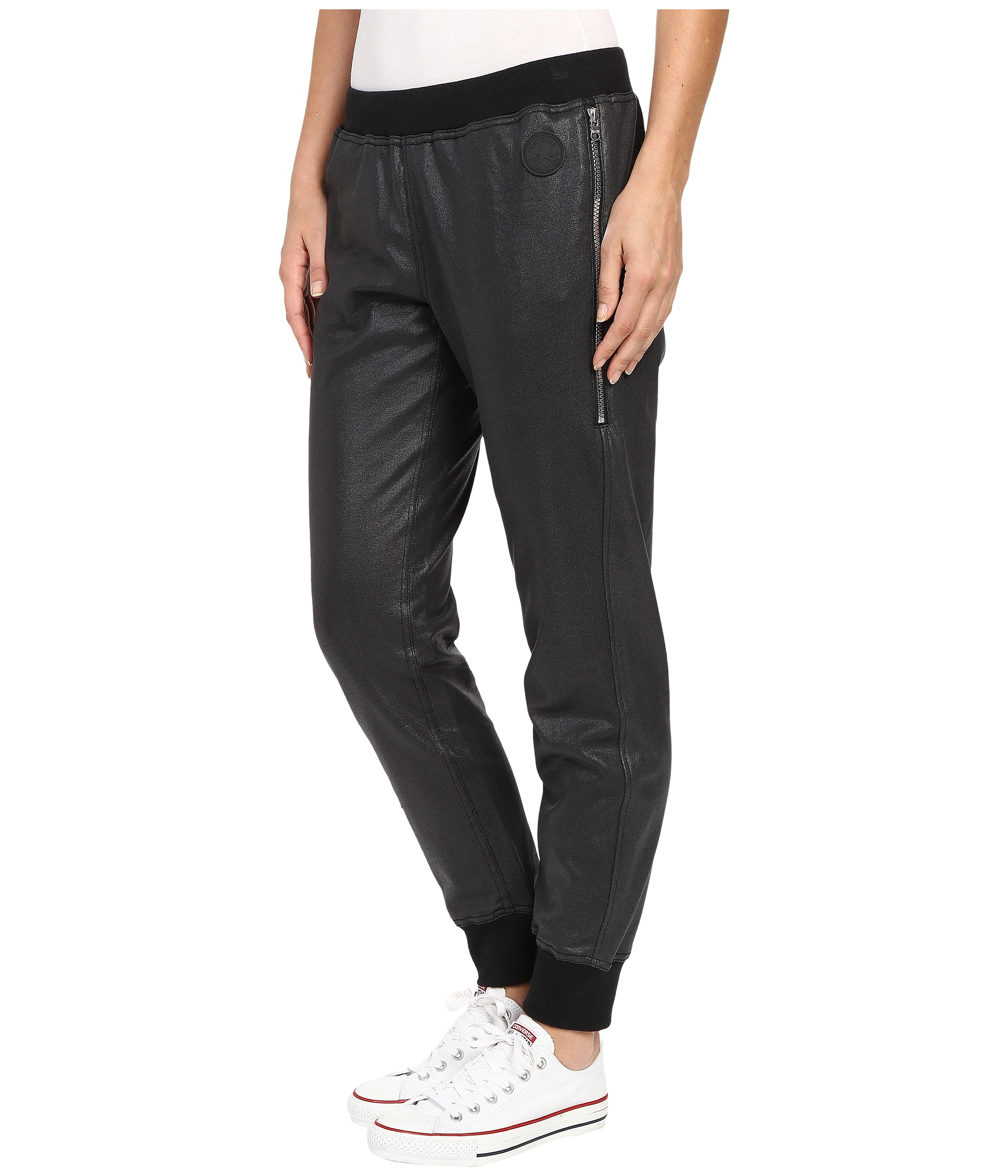 e535de07a9b361 Lyst - Converse Coated Zipper Jogger Pants in Black