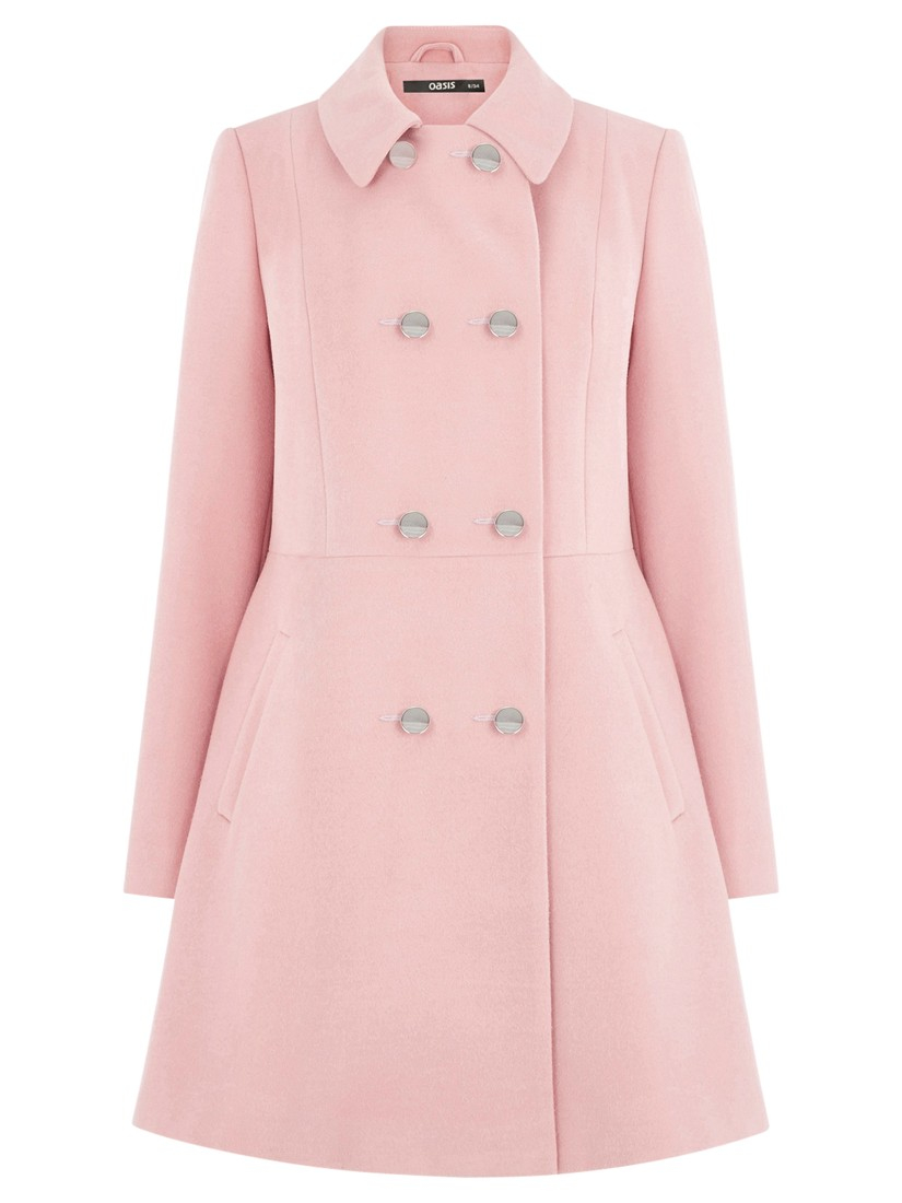 35b0f910351 Oasis Double Breasted Princess Coat in Pink - Lyst