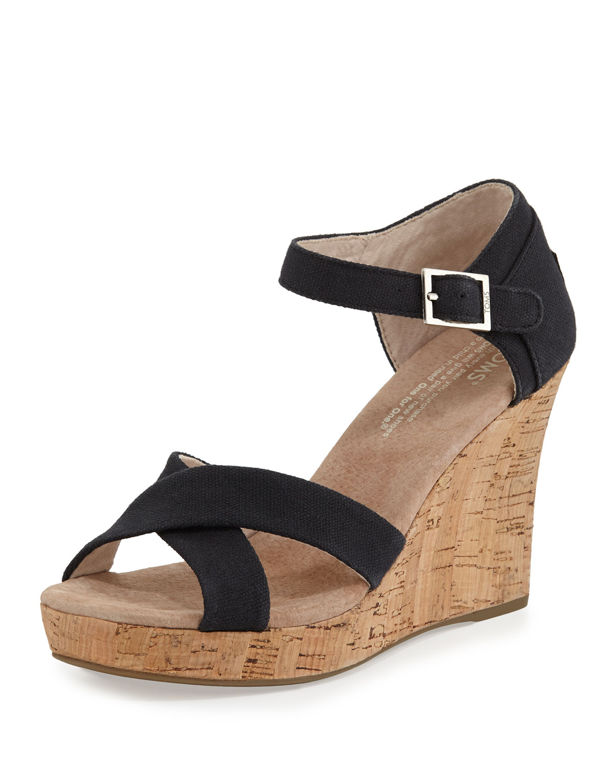 Toms Strappy Canvas Wedge Sandal in Black | Lyst