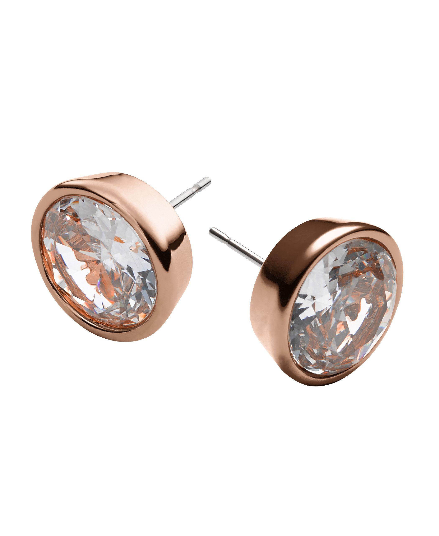lyst michael kors brilliance rose gold stud earrings in pink. Black Bedroom Furniture Sets. Home Design Ideas