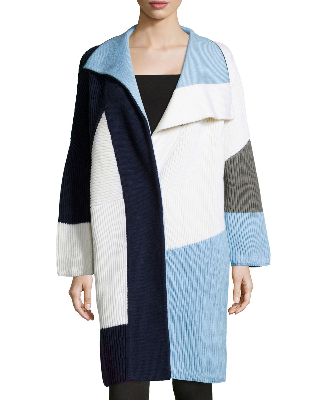 Prabal gurung Long-sleeve Colorblock Sweater Coat in Blue | Lyst