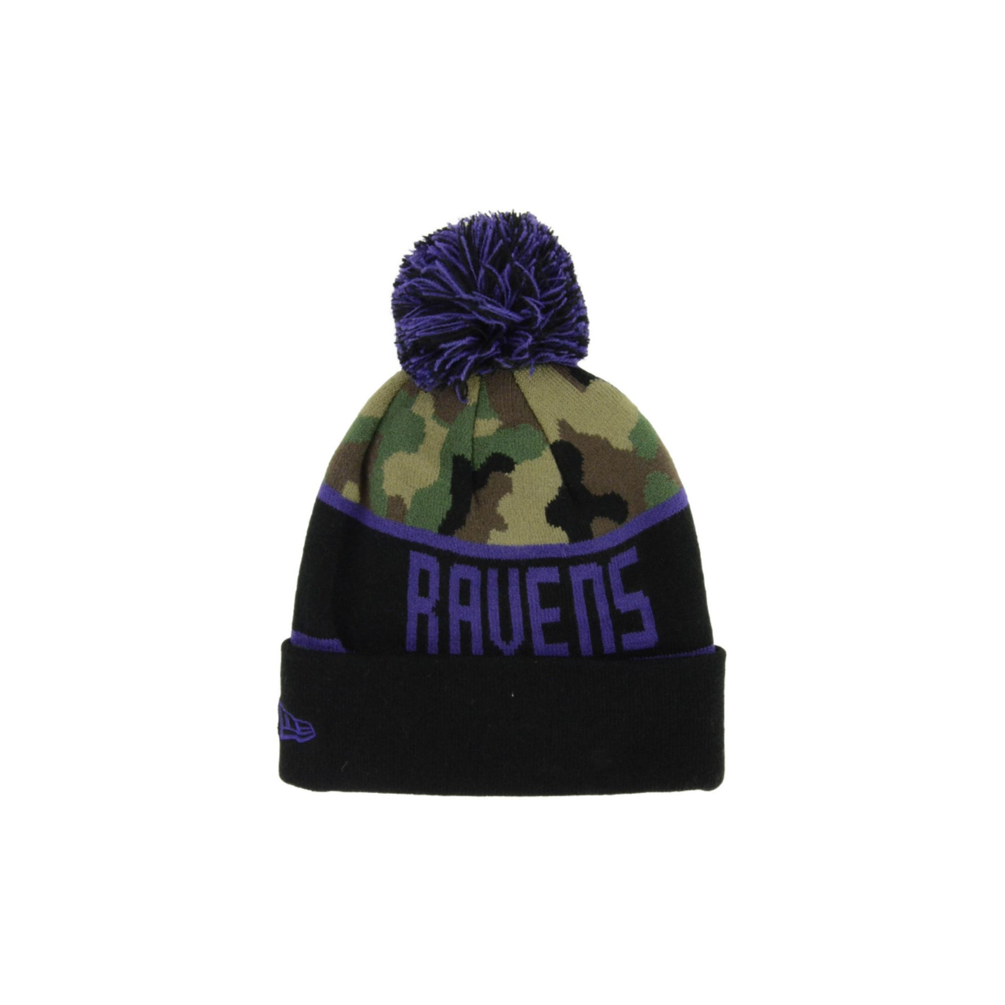 Women's Detroit Lions New Era Blue Polar Dust Uncuffed Knit Beanie with Pom