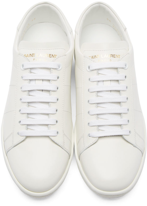 017d1888b9d8 Lyst - Saint Laurent White Leather Court Classic Sneakers in White