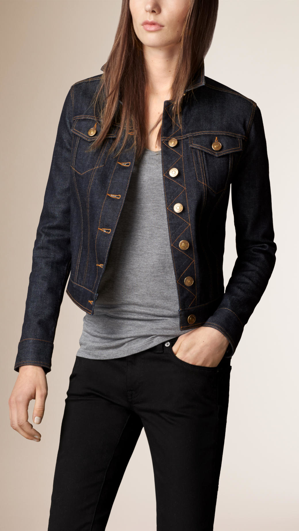 Burberry Japanese Stretch Selvedge Denim Jacket in Blue | Lyst