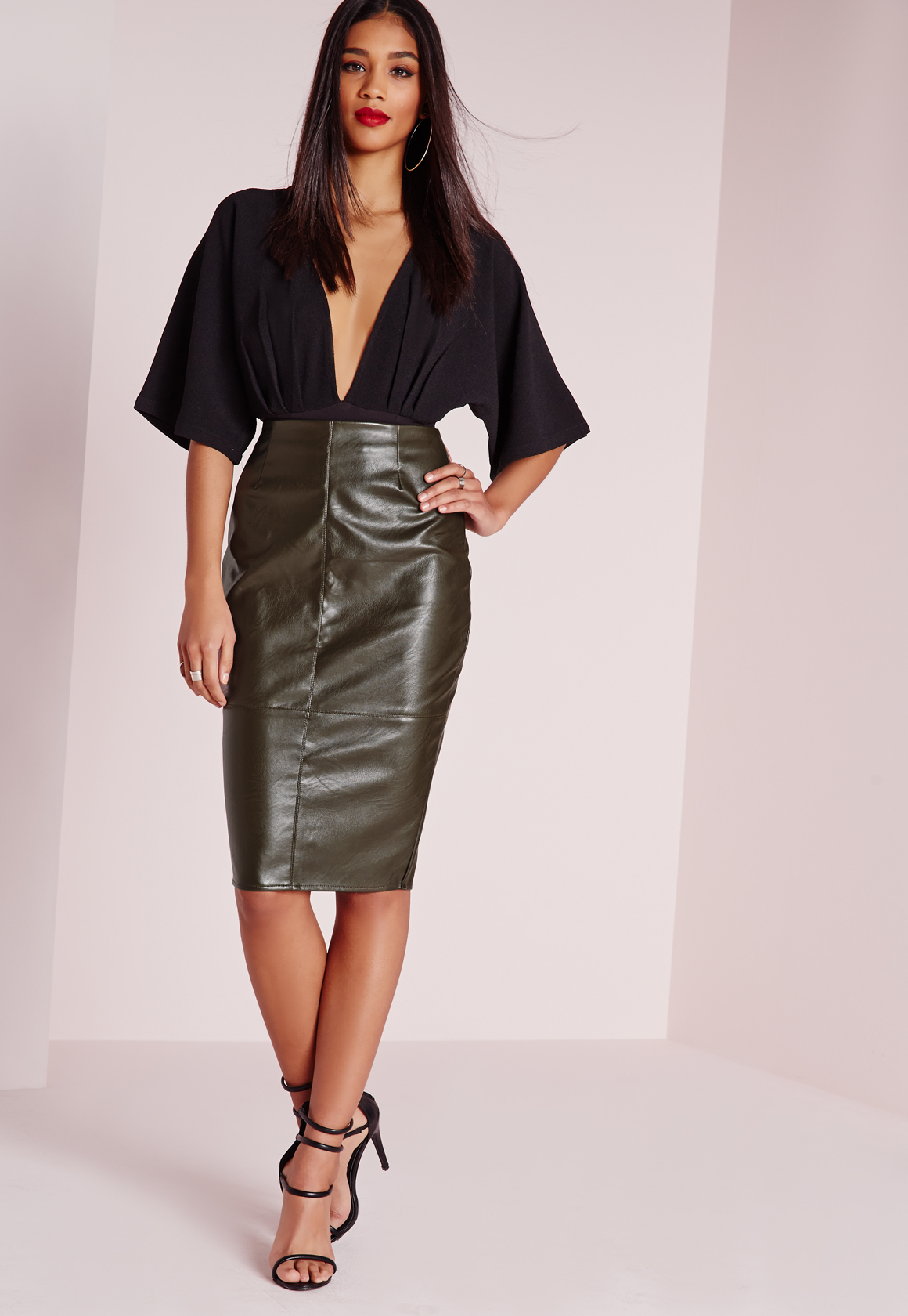 Leather Khaki Skirt - Dress Ala