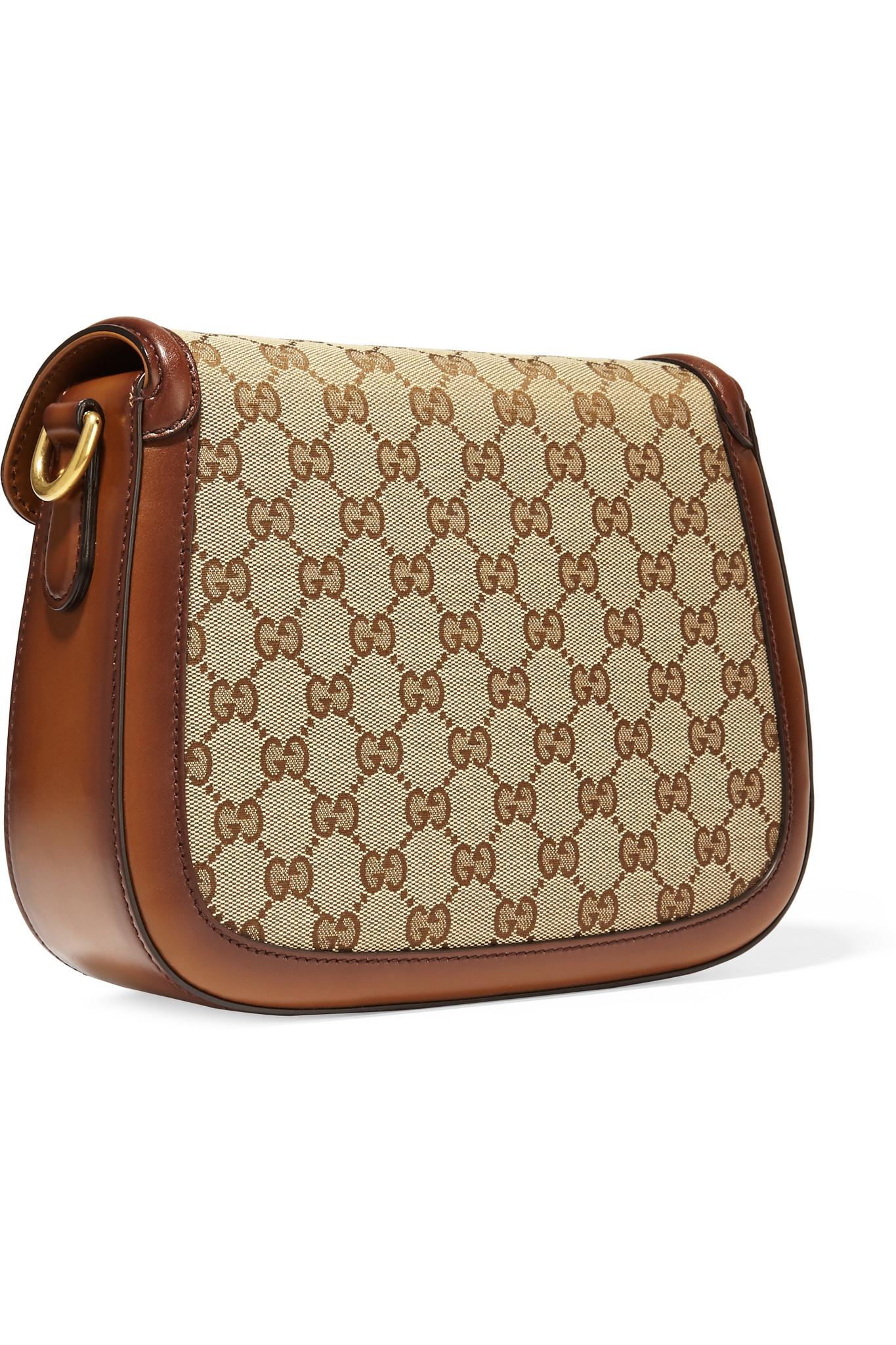 98c67f14a4 Gucci Lady Web Medium Coated Canvas Shoulder Bag in Brown - Lyst