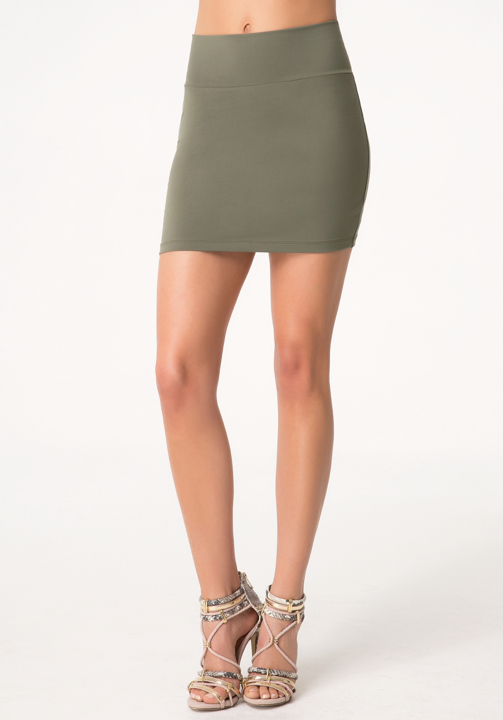 Bebe High Waist Mini Skirt in Green | Lyst