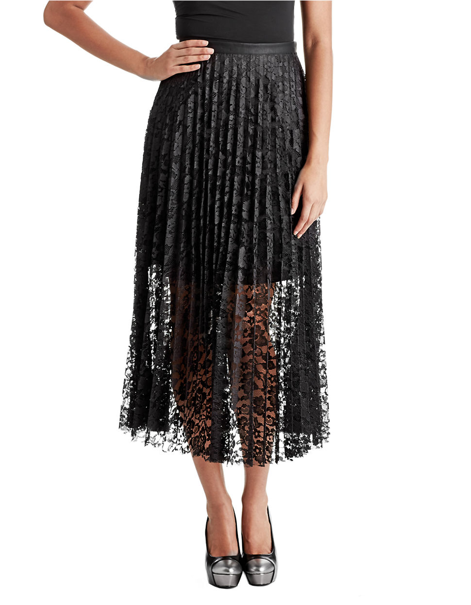 free lace pretty pleated maxi skirt in black lyst