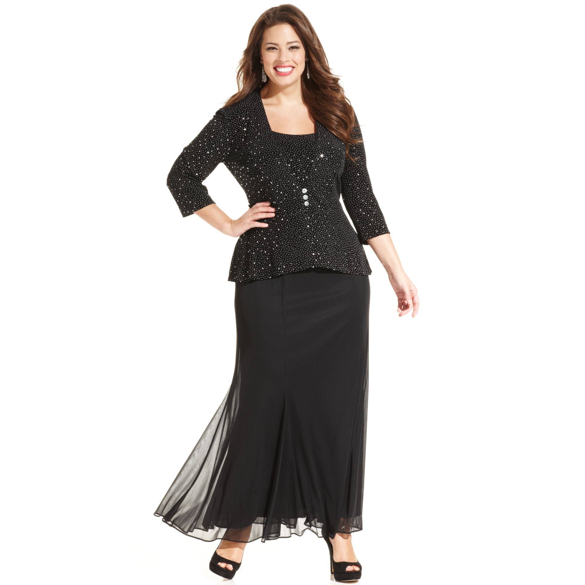 alex evenings plus size sleeveless sequin chiffon gown and jacket