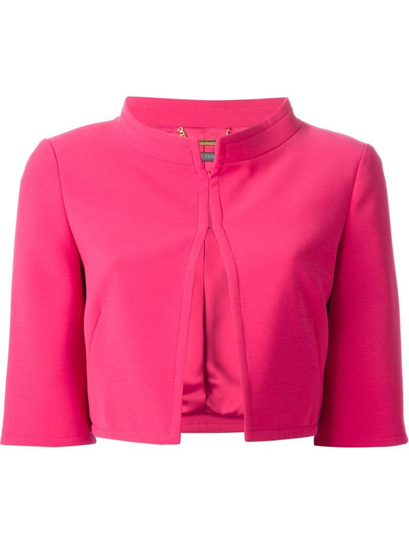 Alberta ferretti Cropped Jacket in Pink | Lyst