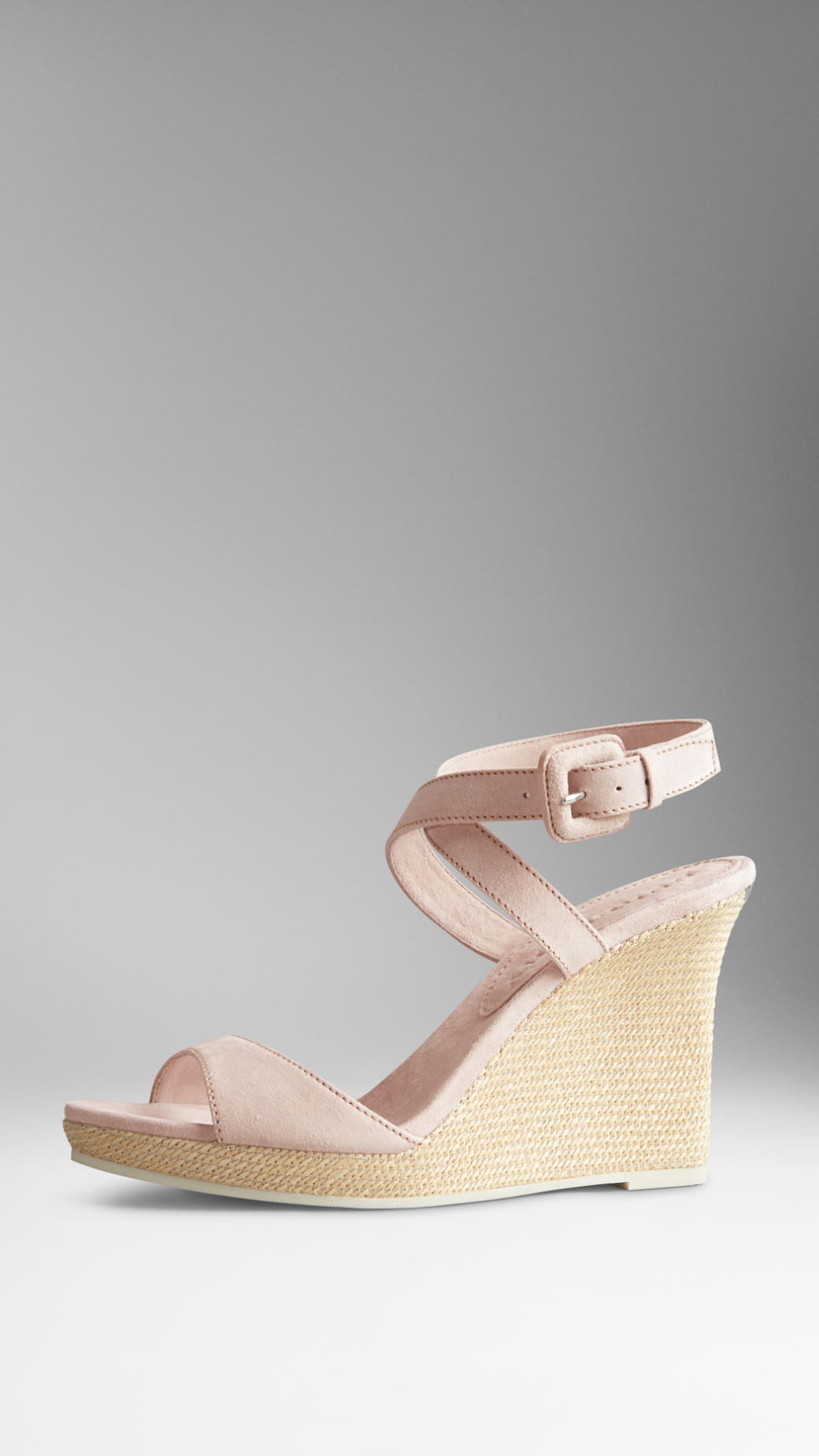 Gallery - Burberry Suede Platform Wedge Sandals In Pink Lyst