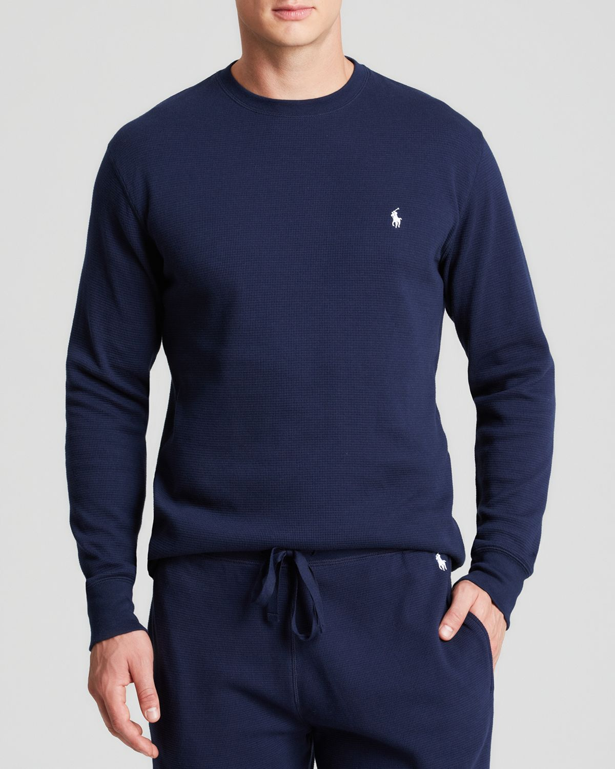 ralph lauren thermal long sleeve tee in blue for men navy white lyst. Black Bedroom Furniture Sets. Home Design Ideas