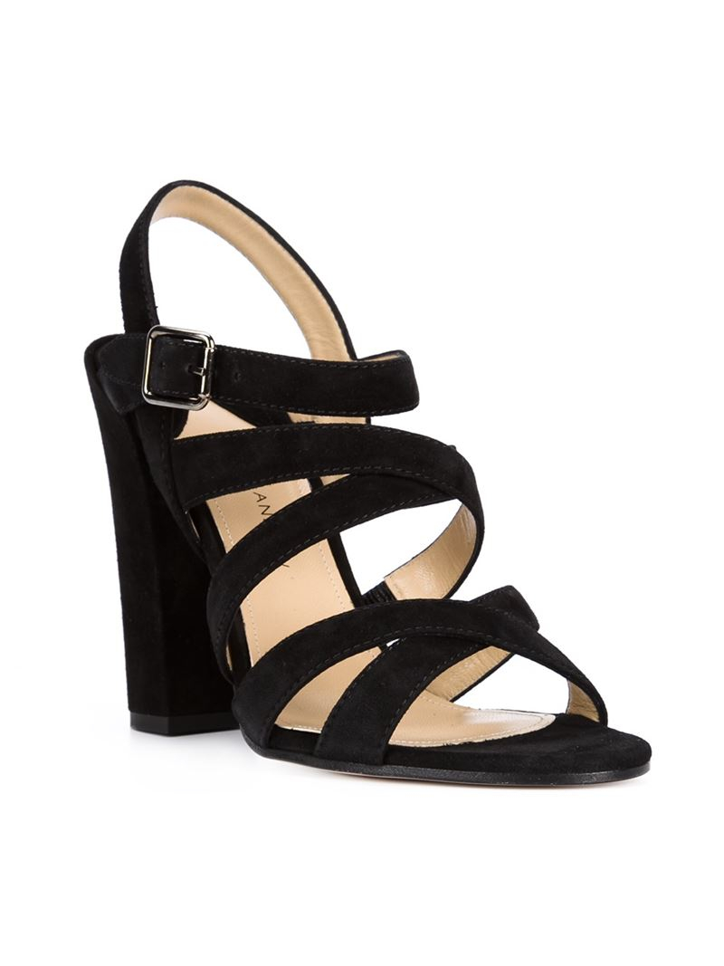 Paul andrew Strappy Chunky-Heel Sandals in Black  Lyst