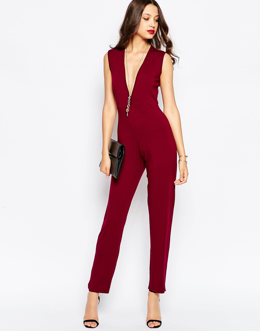 f2a994f857 Lyst - Asos Plunge Sleeveless Jumpsuit in Purple