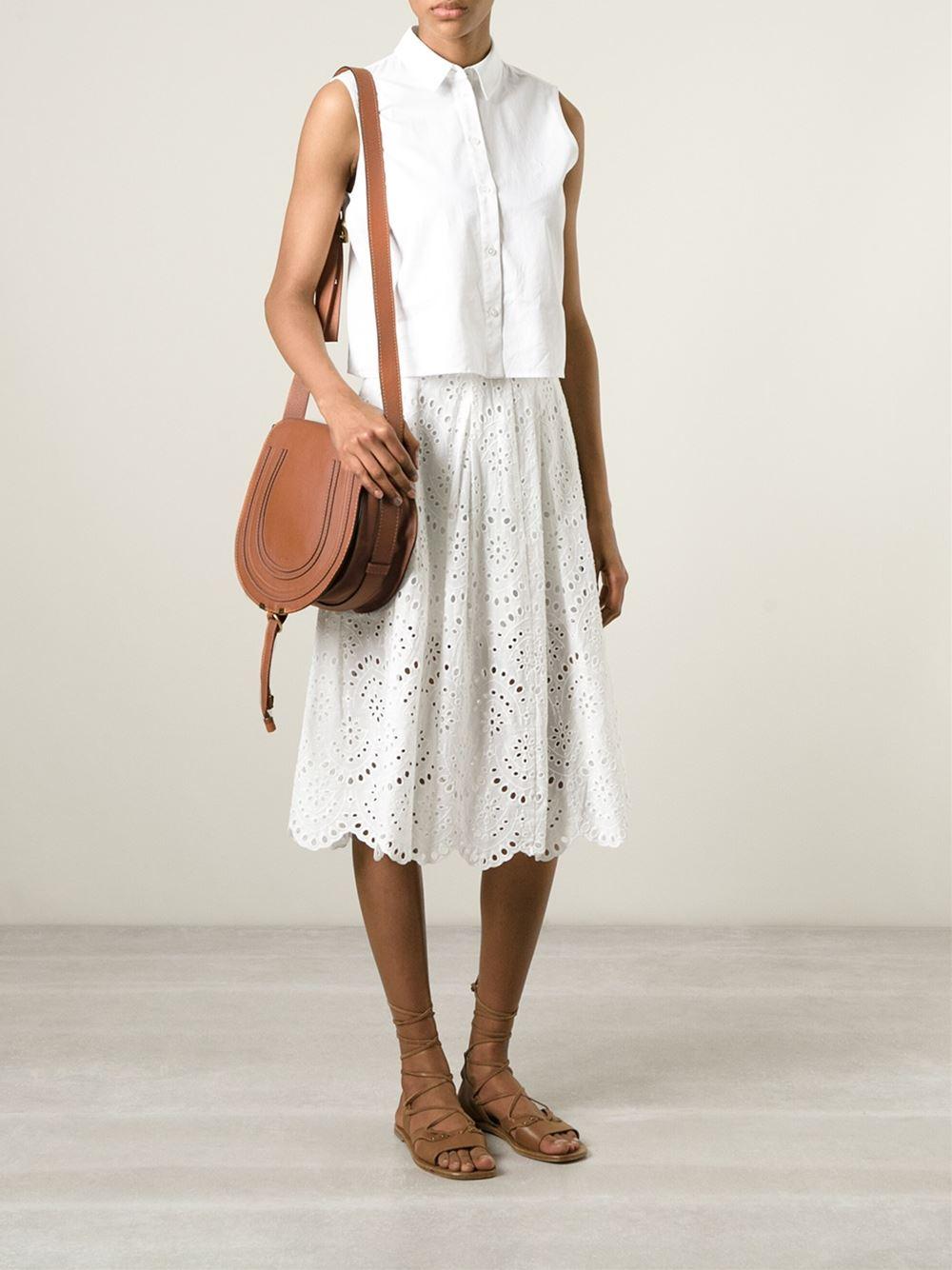 Chlo¨¦ Marcie Leather Cross-Body Bag in Brown | Lyst
