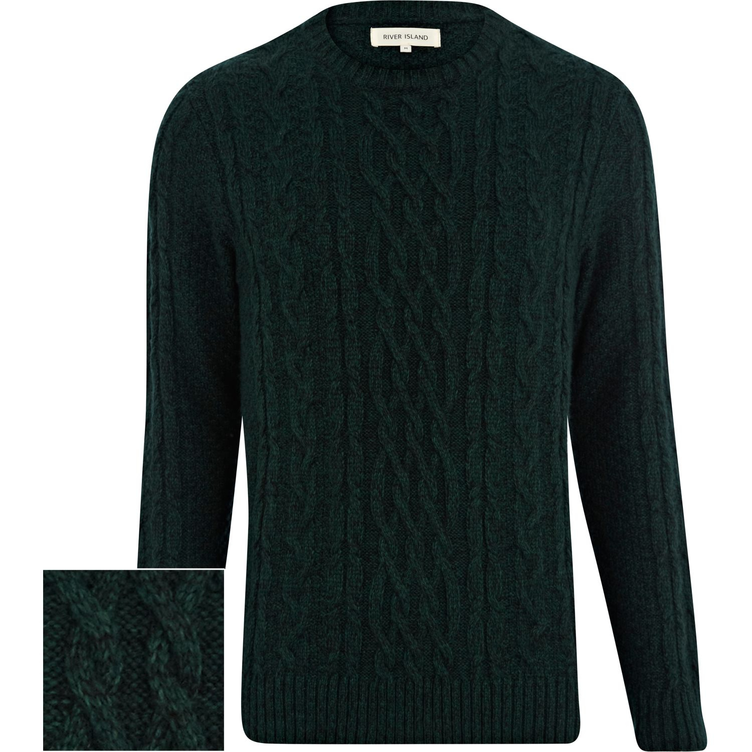 River island Dark Green Cable Knit Sweater in Green for Men | Lyst