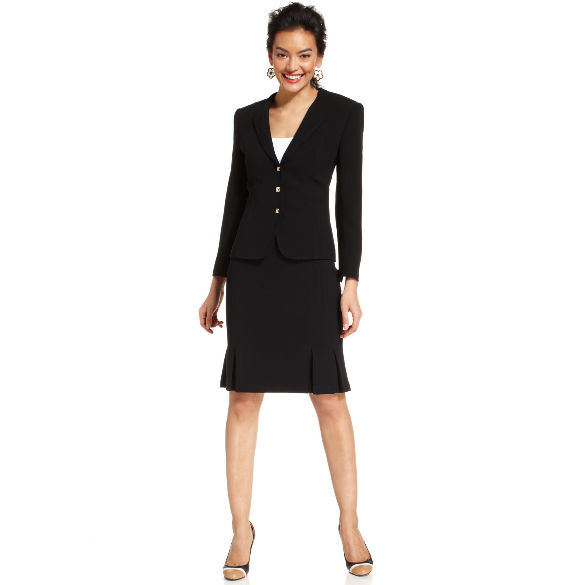 tahari by asl threebutton pleated skirt suit in blue navy