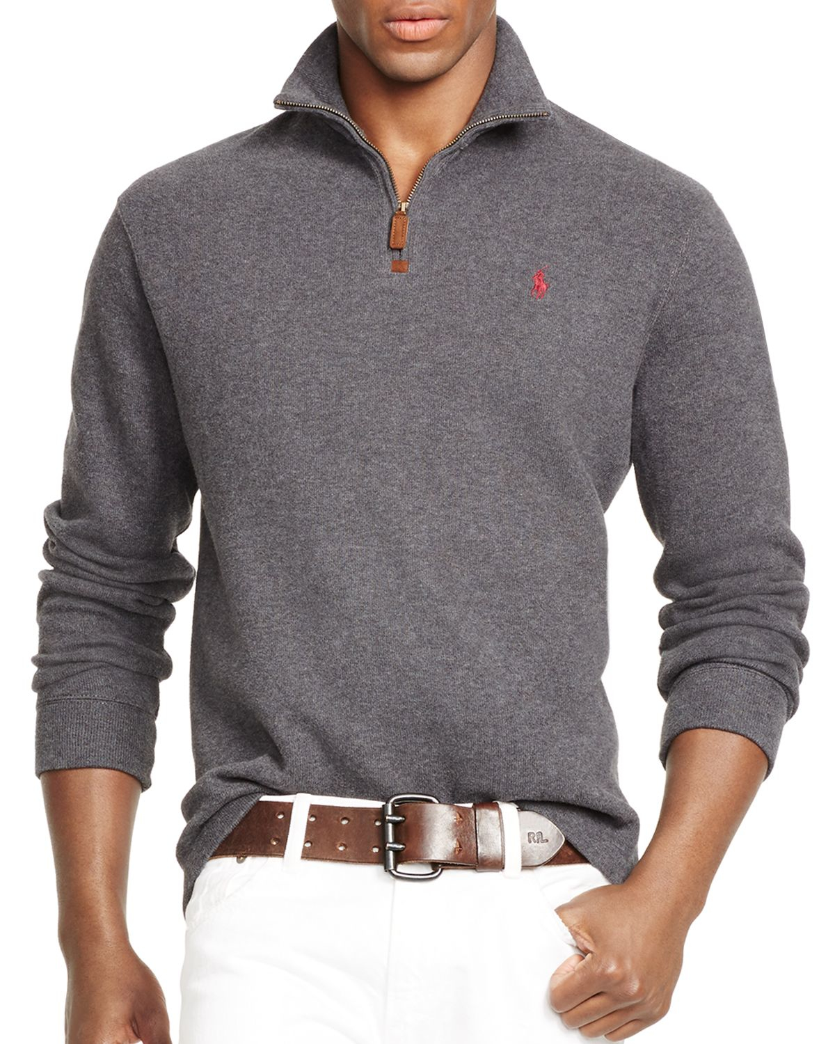 lyst polo ralph lauren french rib half zip pullover in gray. Black Bedroom Furniture Sets. Home Design Ideas