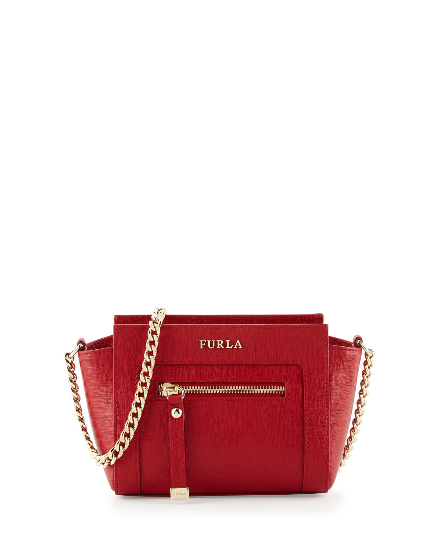Furla Ginevra Mini Leather Crossbody Bag in Red   Lyst