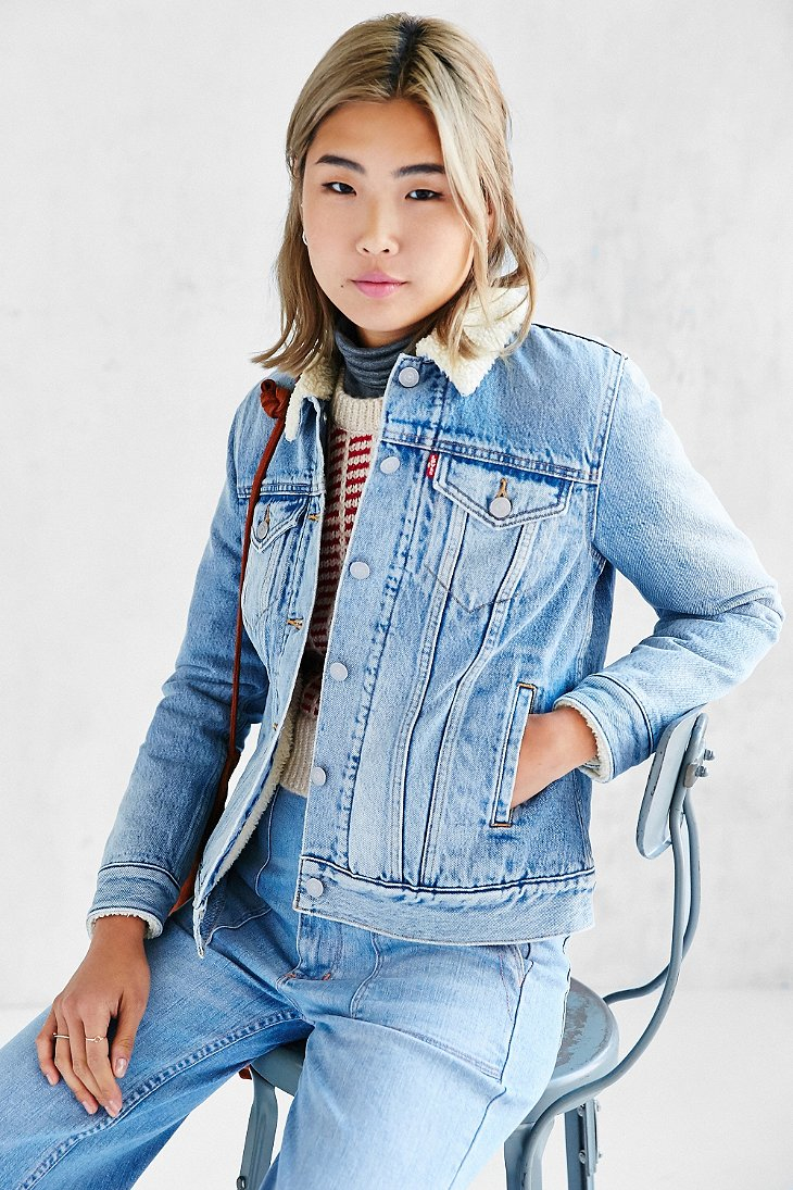 Lyst Levi S Sherpa Collar Denim Jacket In Blue