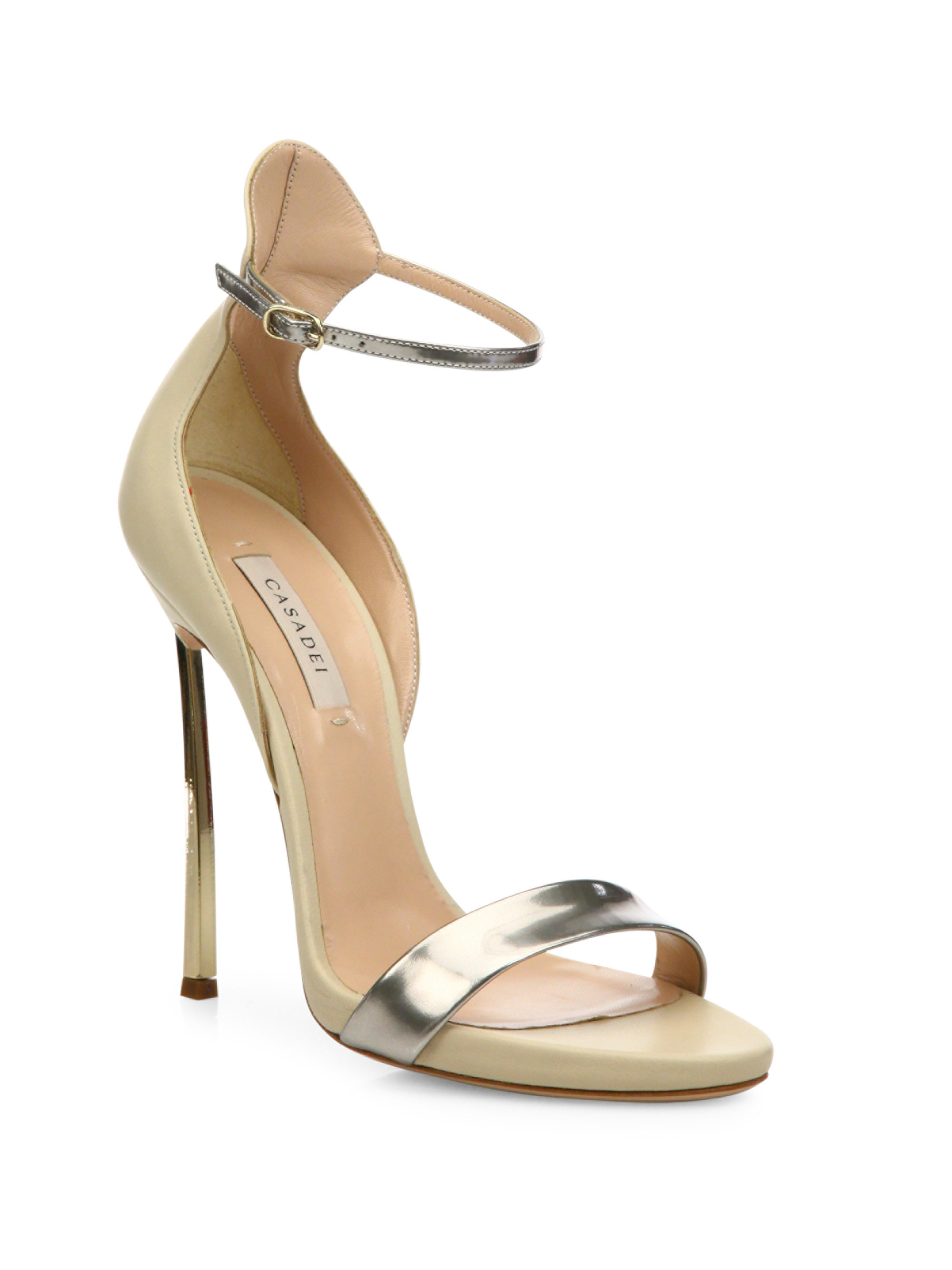 b80efa36e7 Casadei Blade Metallic Leather Sandals in Natural - Lyst