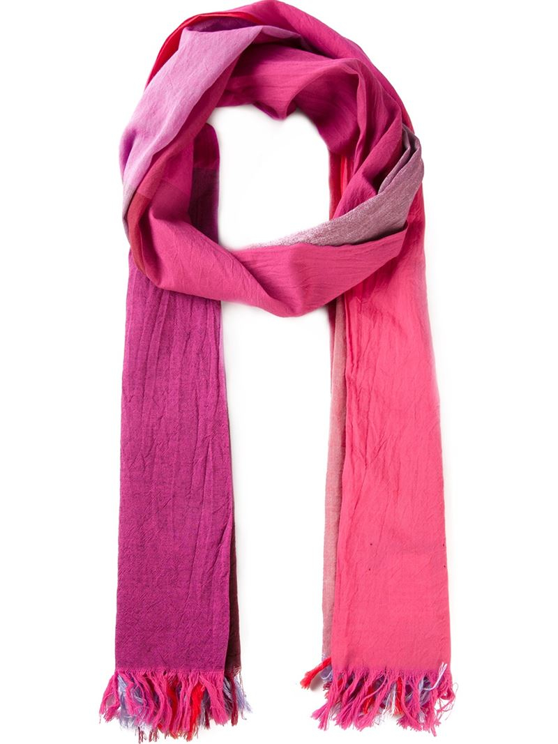 y 39 s yohji yamamoto colour block fringed scarf in pink lyst. Black Bedroom Furniture Sets. Home Design Ideas