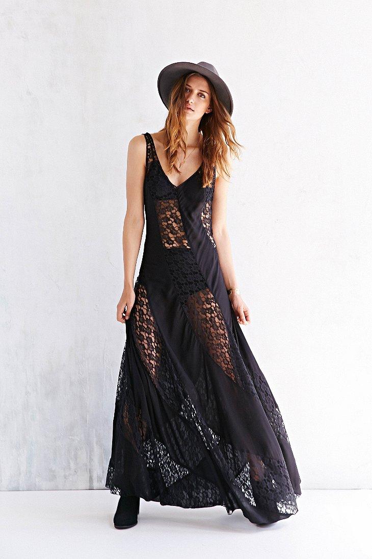 Lyst Kimchi Blue Sheer Lace Stripe Maxi Dress In Black