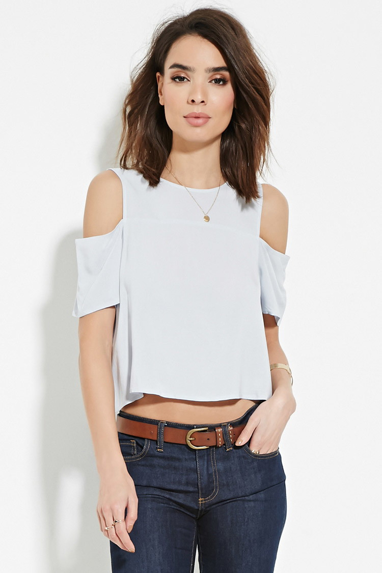 21 Best Grow Your Tarot Business Online Images On: Forever 21 Contemporary Open-shoulder Top In Blue