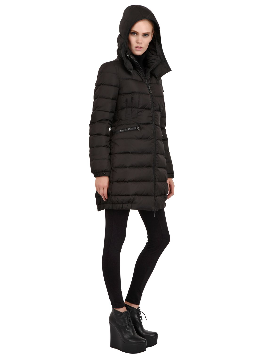 Lyst Moncler Charpal Quilted Nylon Long Down Jacket In