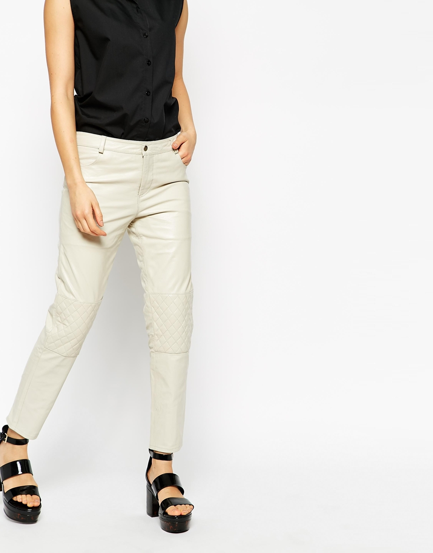 0921d9bcf5 Ganni Rocky Leather Trousers in White - Lyst