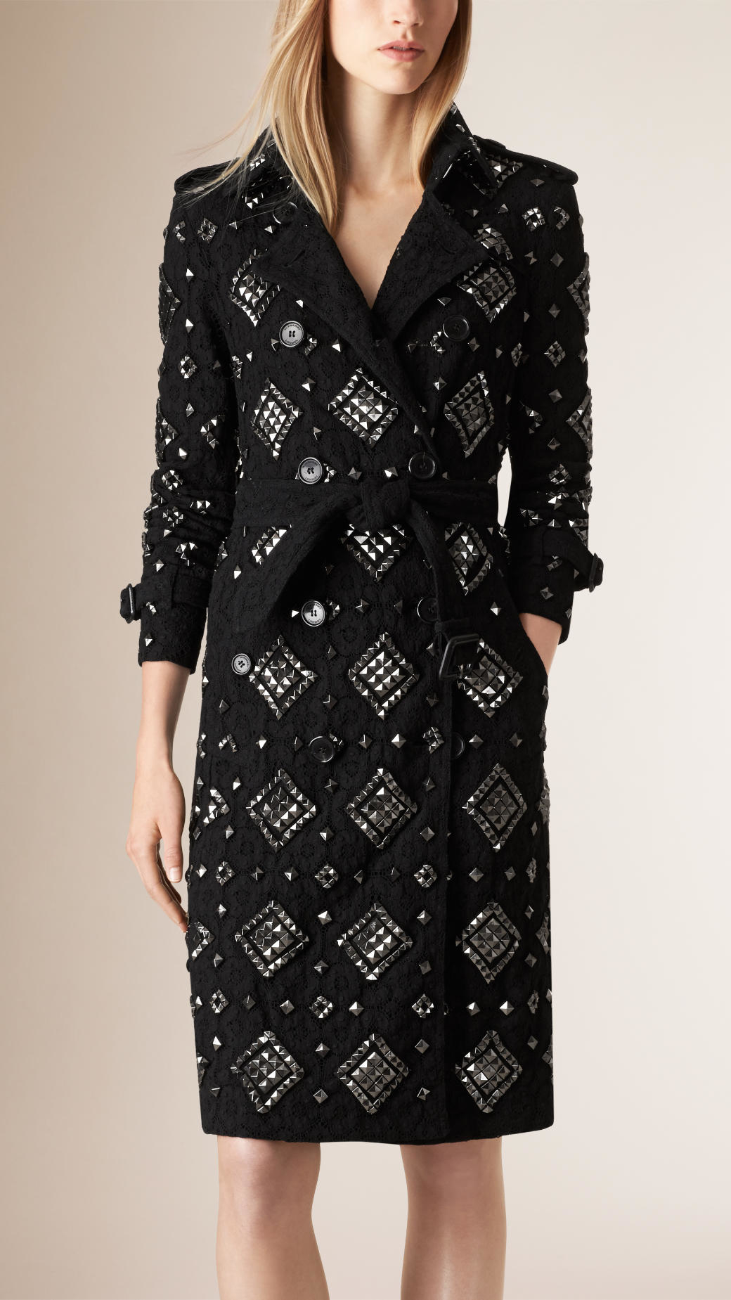 Lyst Burberry Studded English Lace Trench Coat In Black