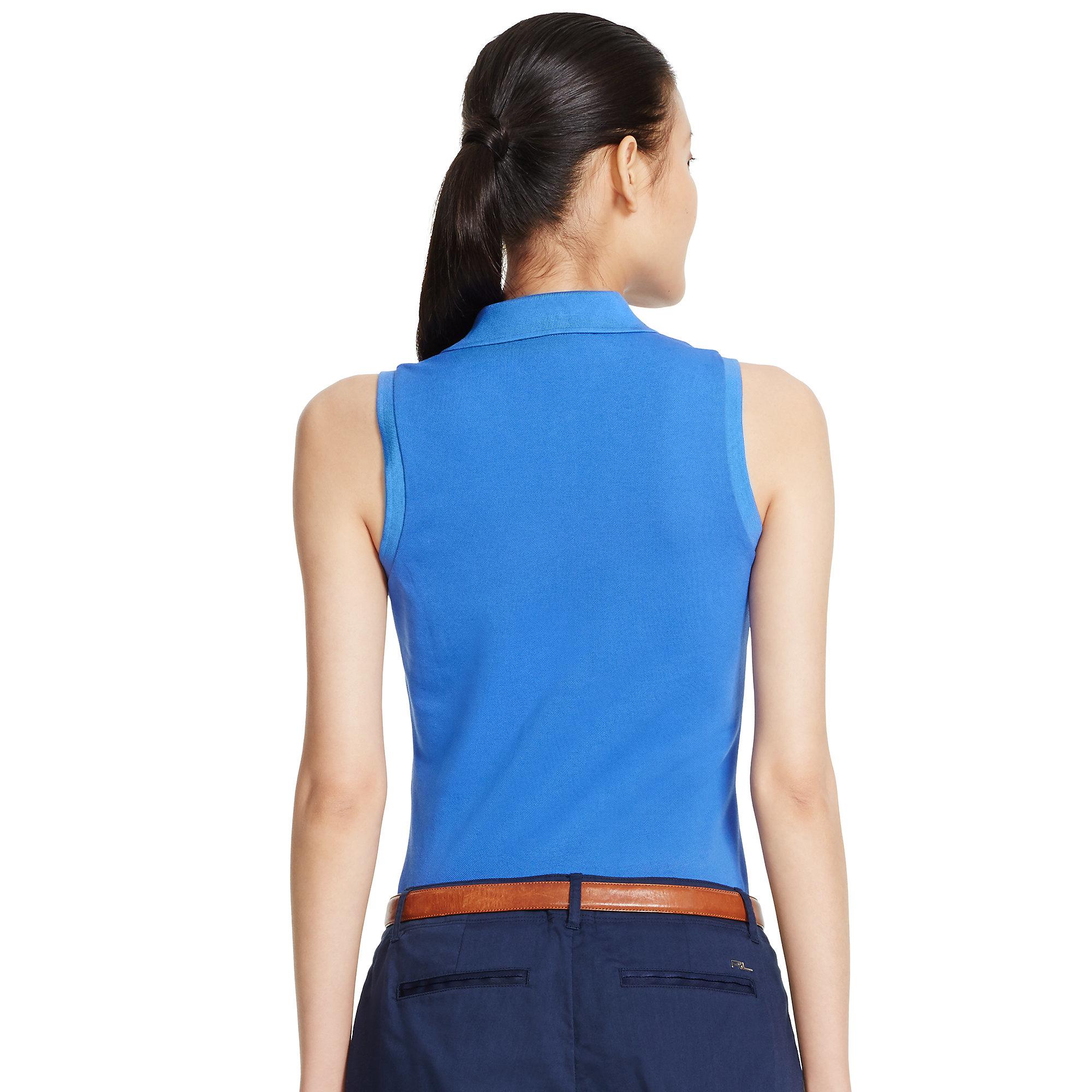 ralph lauren golf sleeveless cotton mesh polo in blue lyst. Black Bedroom Furniture Sets. Home Design Ideas