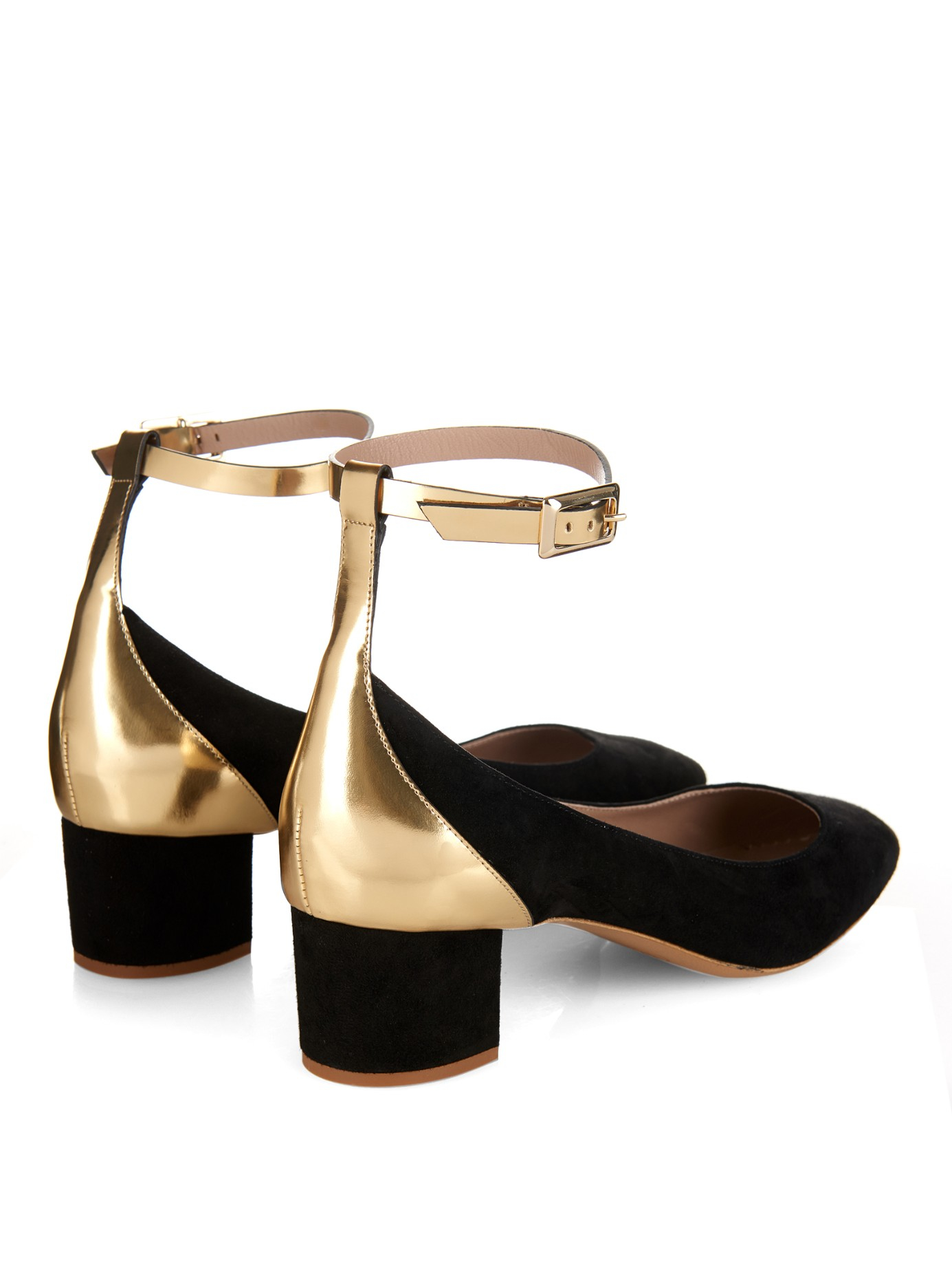 Gold Low Block Heel Shoes