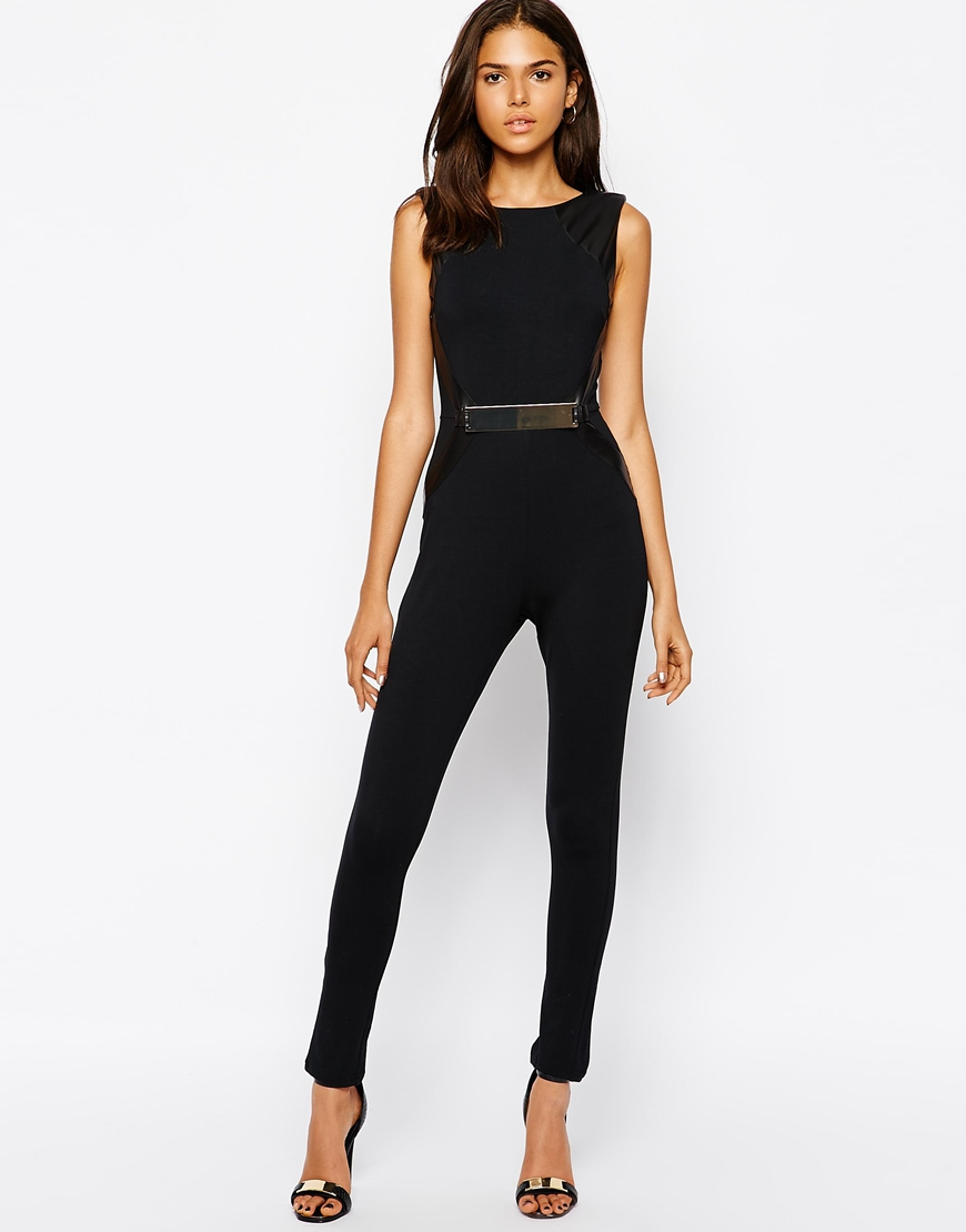Lyst - AX Paris Jumpsuit With Pu Side And Belt in Black