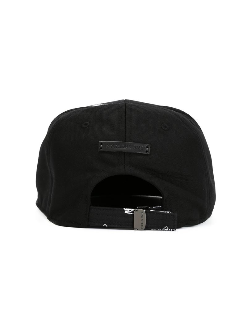Lyst - Dolce   Gabbana Crown Print Cap in Black for Men b34492598ad