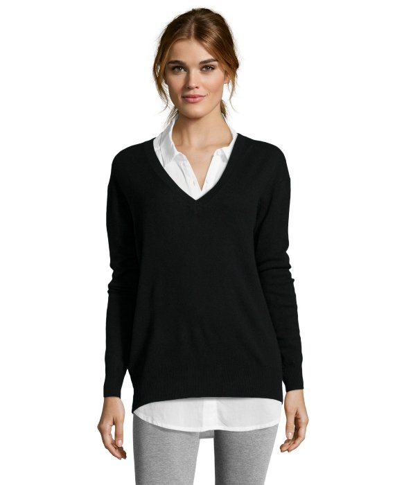 Autumn cashmere Black V-neck Boyfriend Cashmere Sweater in Black ...