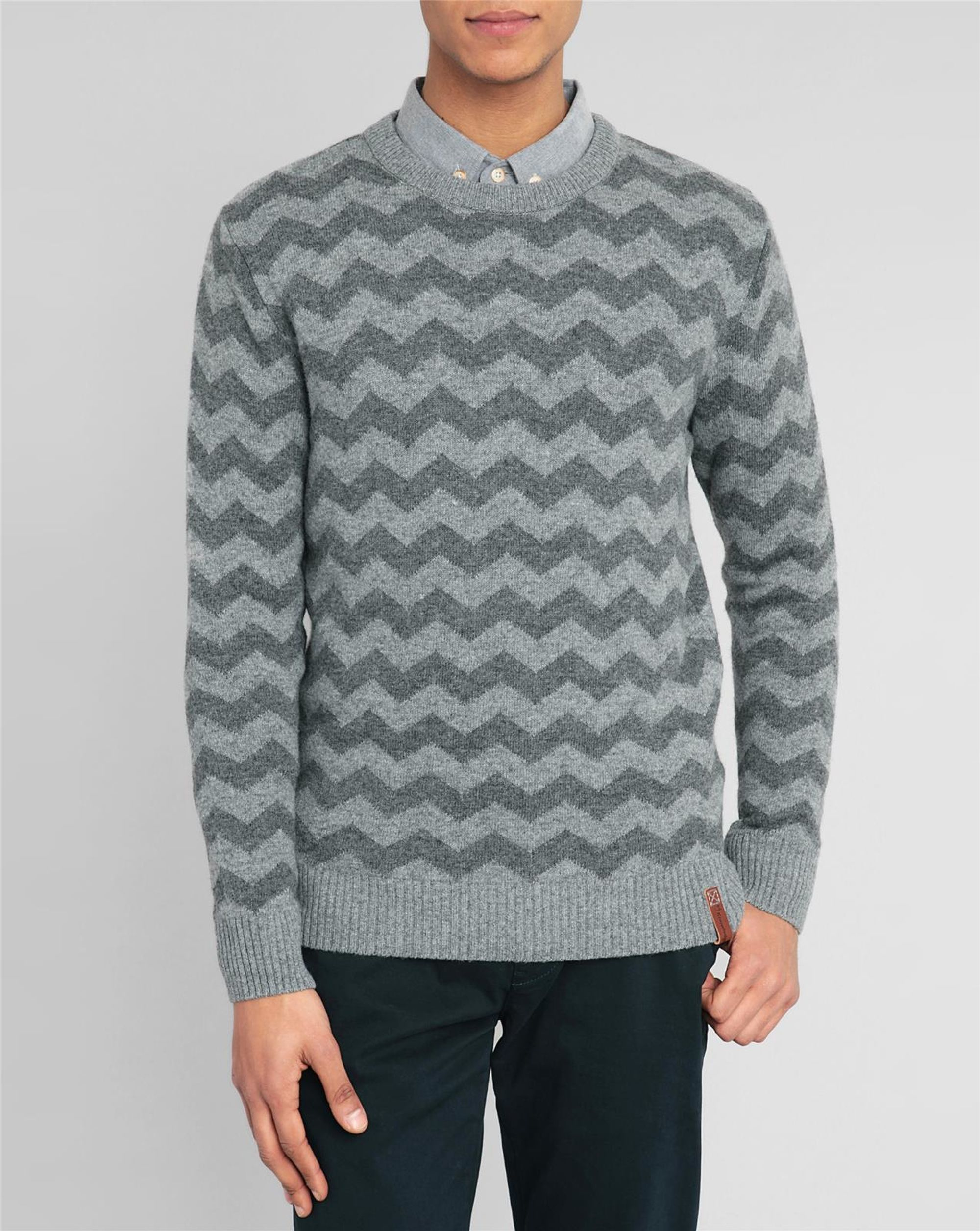 knowledge cotton apparel grey round neck zigzag sweater in gray for men lyst. Black Bedroom Furniture Sets. Home Design Ideas