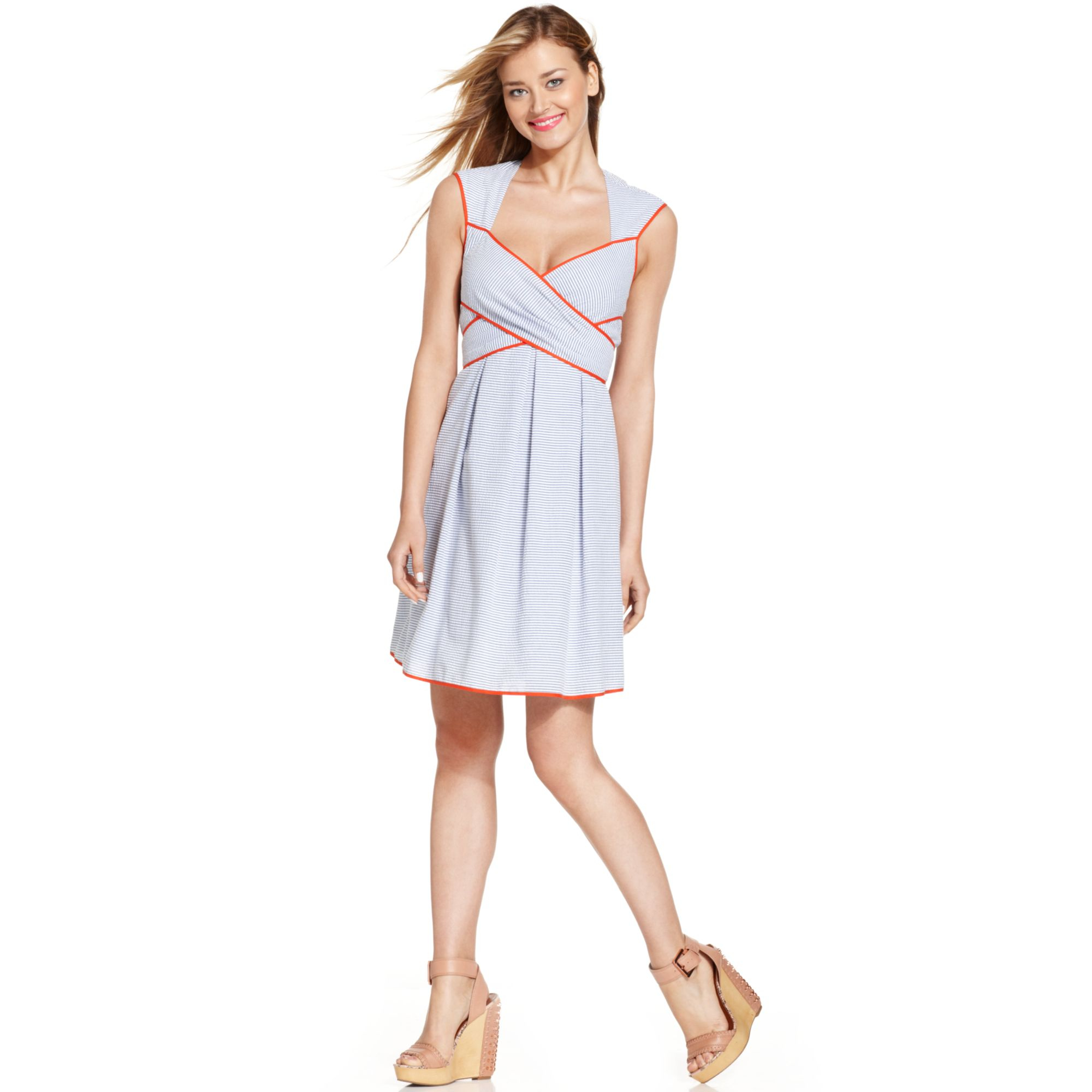 Lyst - Jessica Simpson Contrast Trim Seersucker Dress in Blue