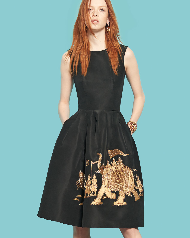 Lyst - Oscar De La Renta Elephant-embroidered Pouf Dress in Black