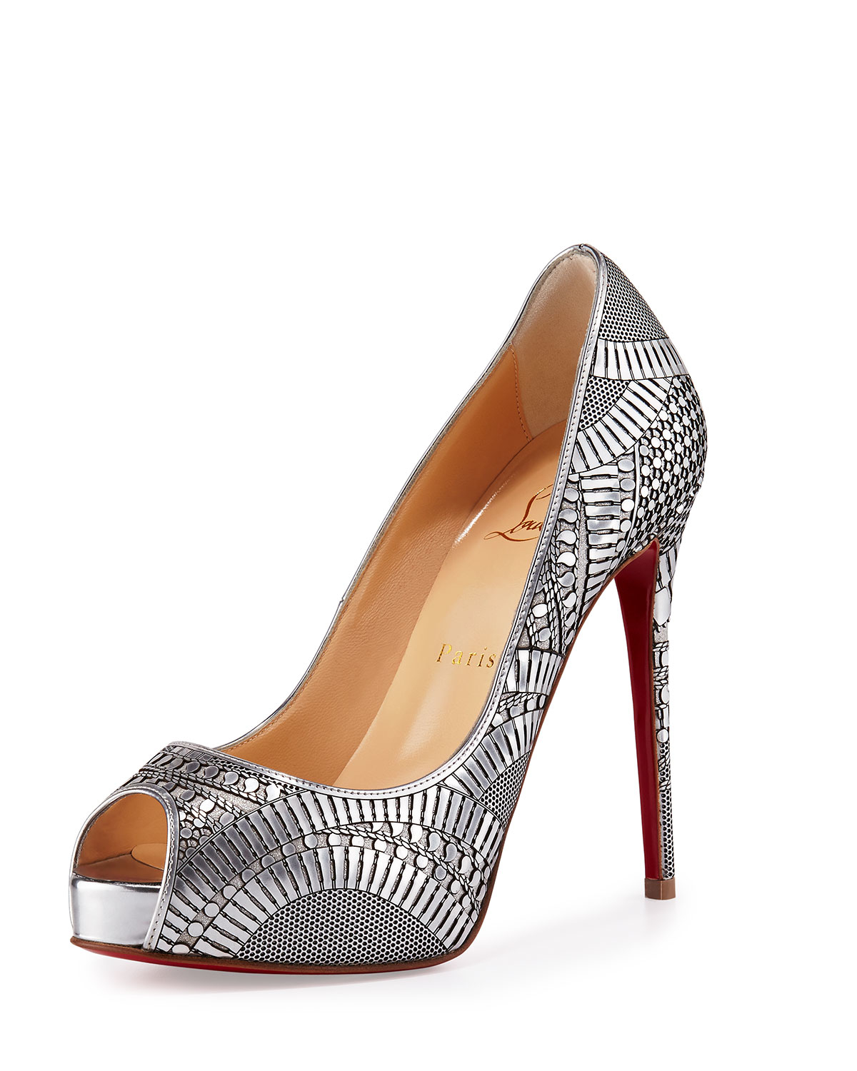 christian louboutin milla metallic strappy red sole bootie