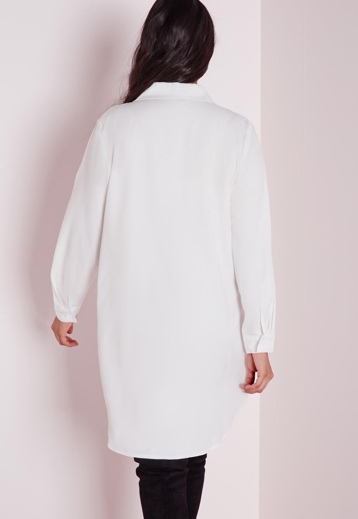 e8b884d9b7867 Lyst - Missguided Plus Size Tuxedo Shirt Dress White in White
