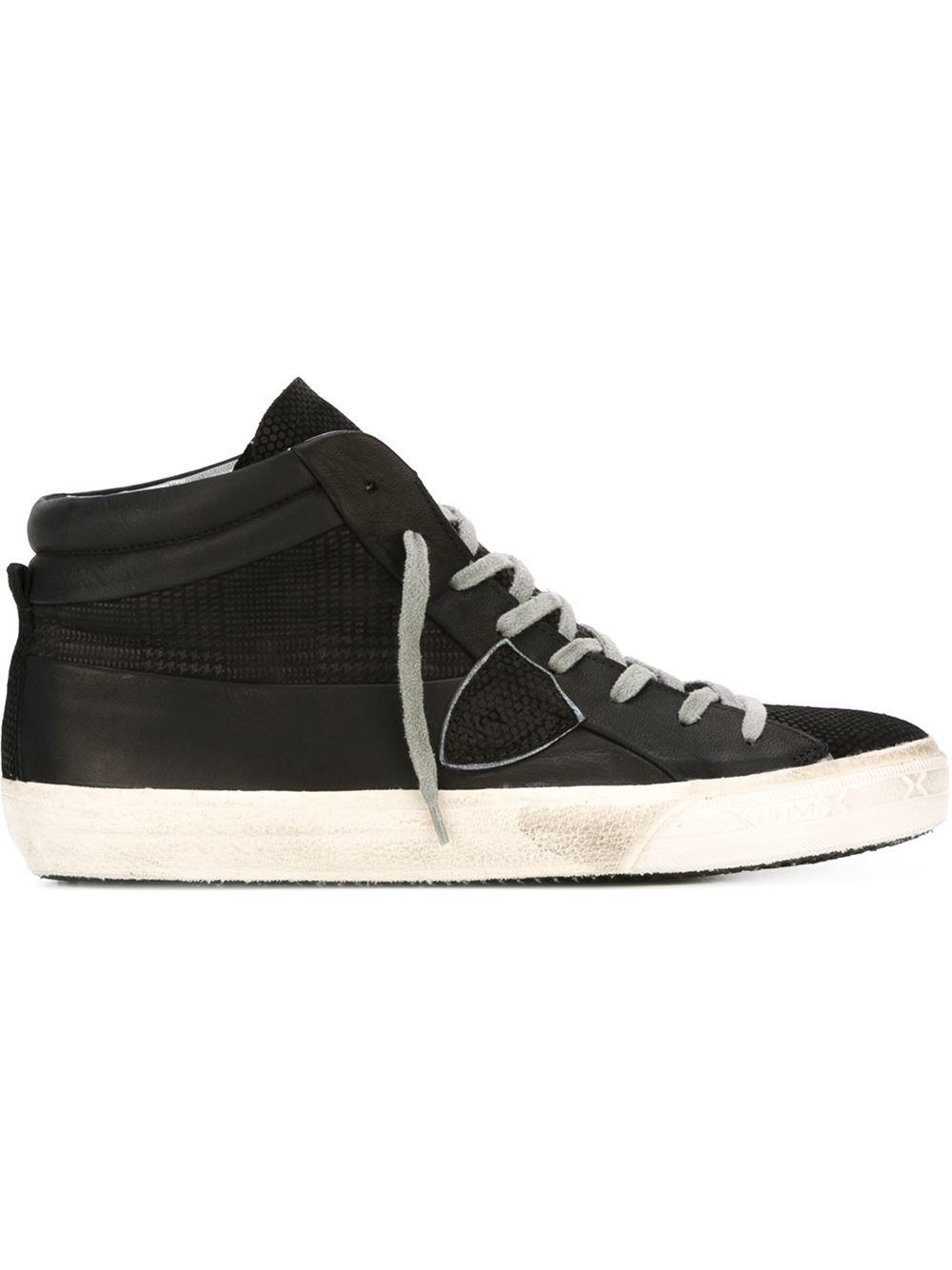 philippe model hi top sneakers in black for men lyst. Black Bedroom Furniture Sets. Home Design Ideas