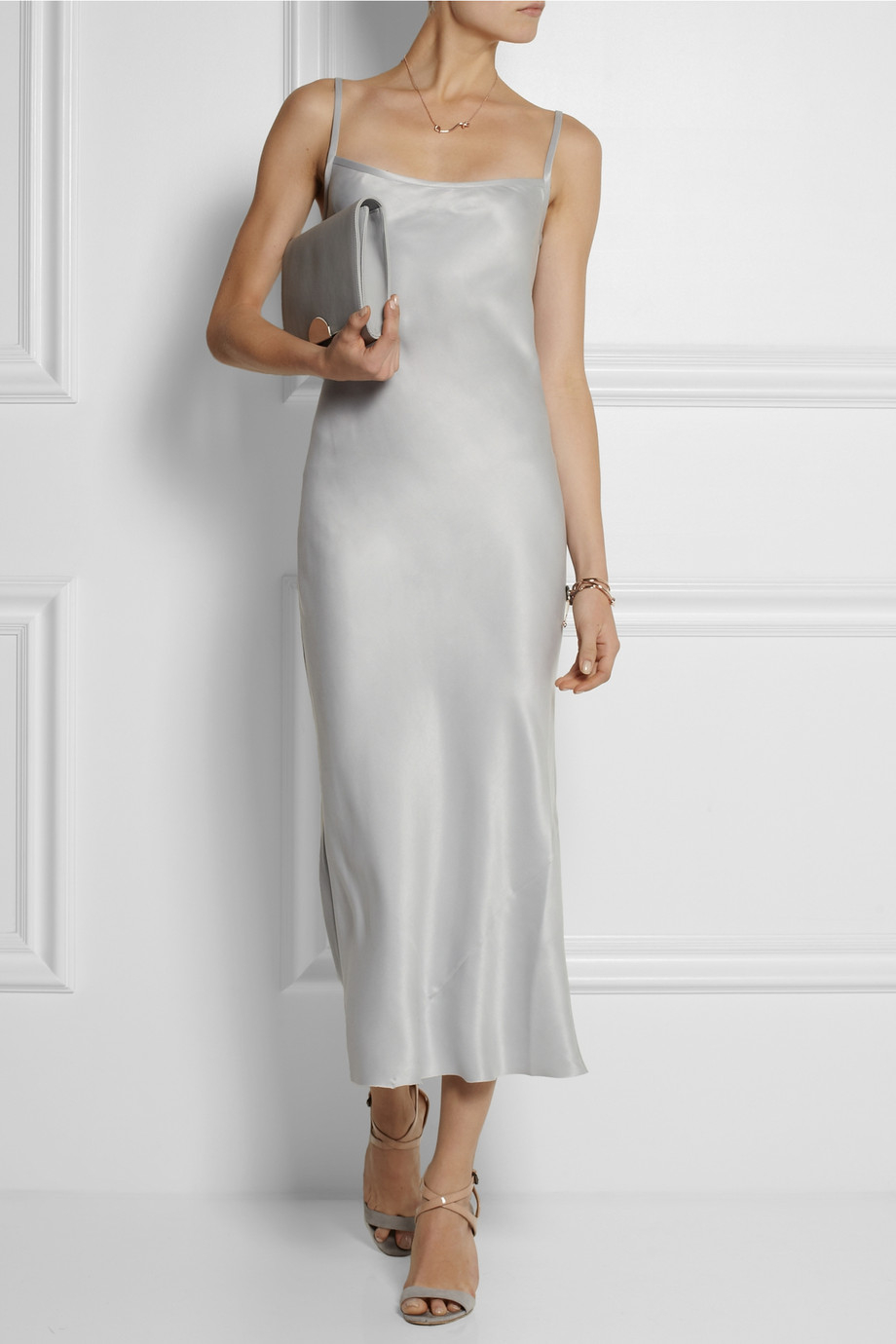 Joseph Washed Silk Maxi Slip Dress In Gray Lyst