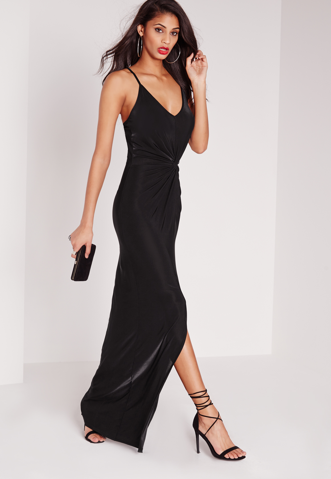 Silk strappy maxi dress
