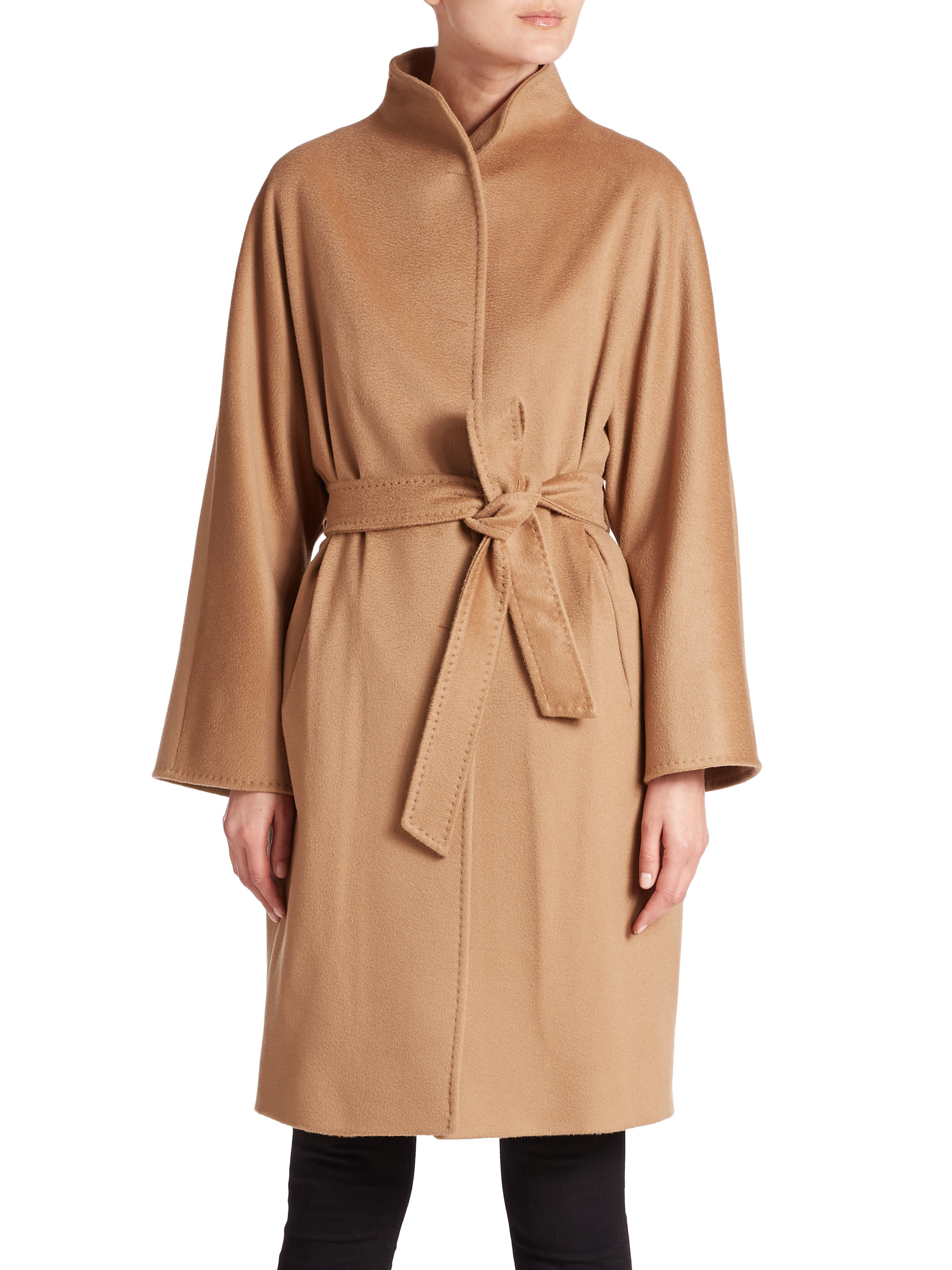 Cinzia rocca Belted Wool Coat in Natural | Lyst