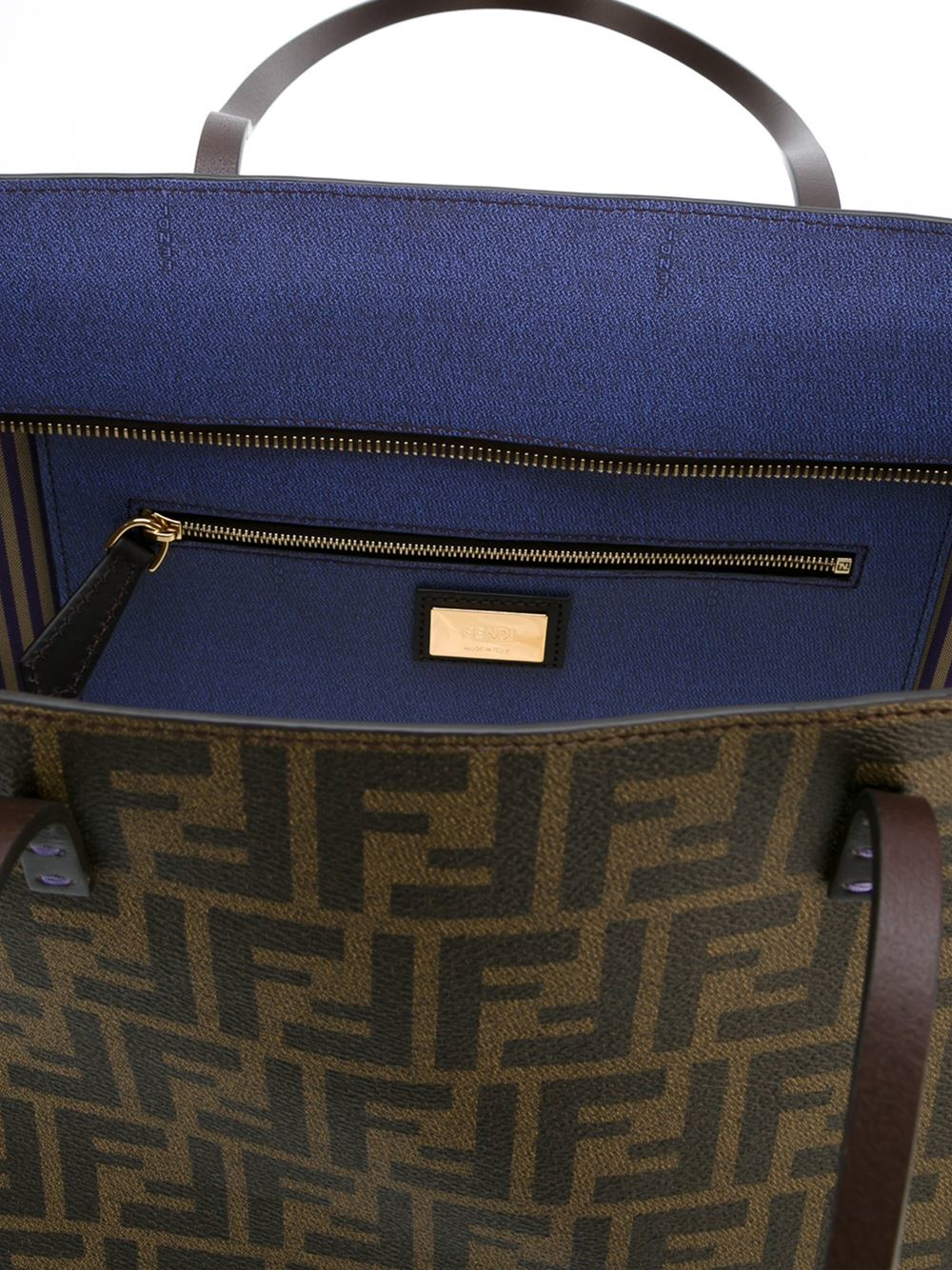 1b7fafc145 Fendi Roll Bag Zucca in Brown - Lyst