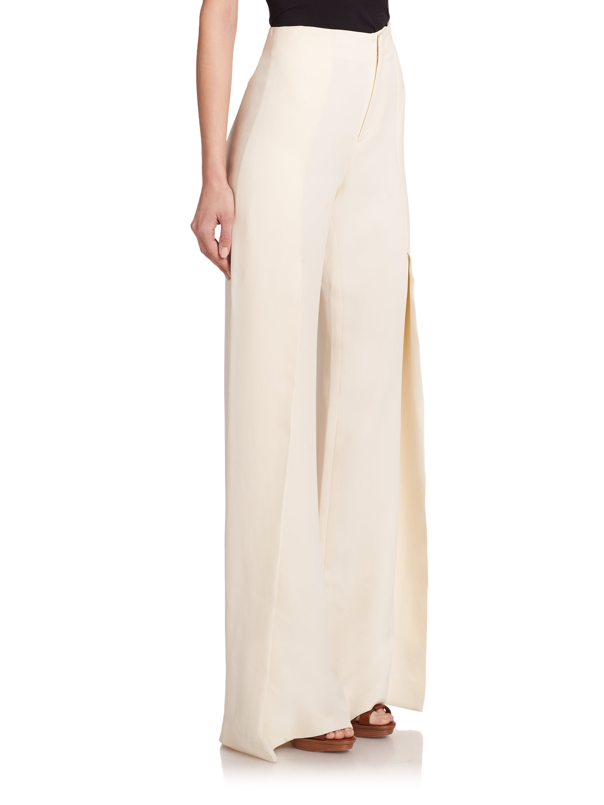 Lyst - Ralph lauren Wide-leg Wool Pants in Natural