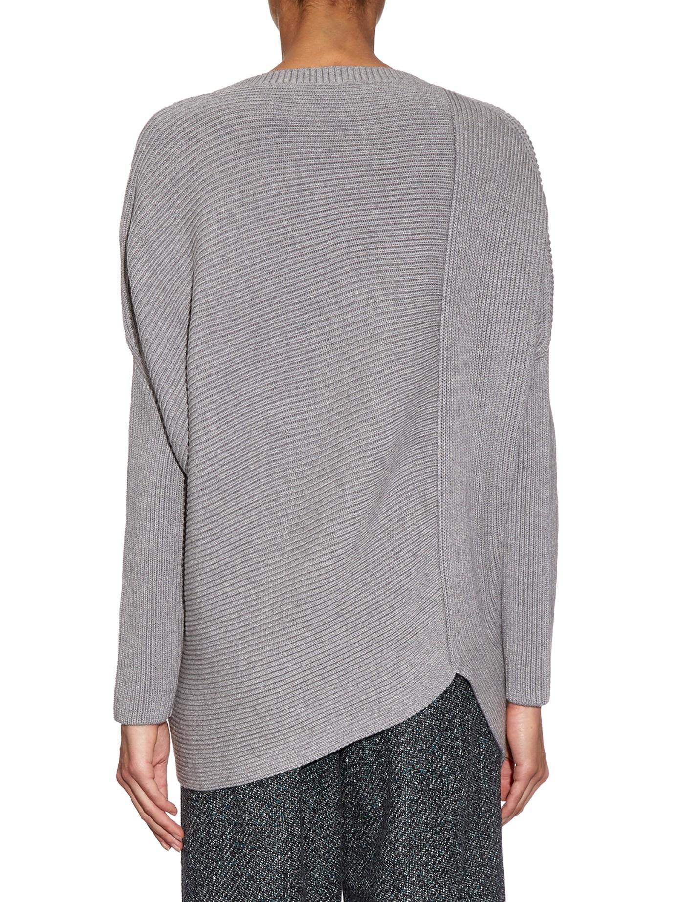 Stella mccartney Asymmetric-hem Wool-knit Sweater in Gray | Lyst