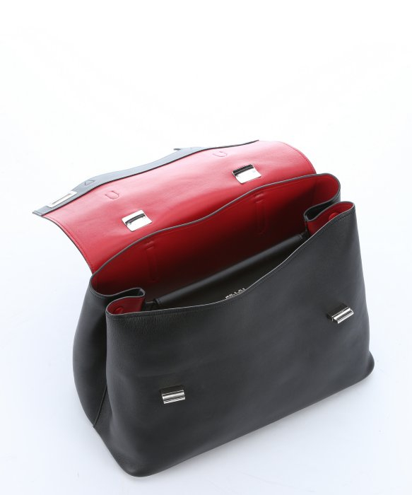 Prada Black Leather Buckle Accent Convertible Top Handle Bag in ... - prada pouch black + lacquer red